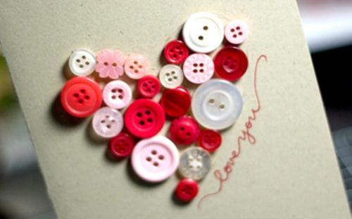 Tarjeta botones Tarjetas Caseras para San Valentin
