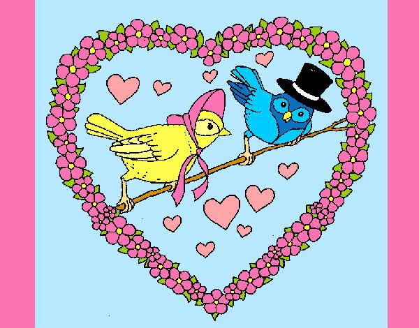 corazon con pajaros fiestas san valentin pintado por neko chan 9750931 Imágenes de pajaritos enamorados