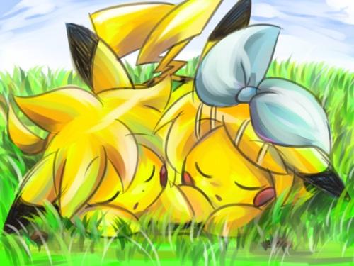 delish 14010 bow closed eyes feral grass kagamine len kagamine rin pikachu pokémon saya sleeping vocaloid Imágenes de Pikachu enamorado